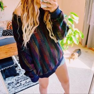Vtg colorful oversized boho v neck sweater p10